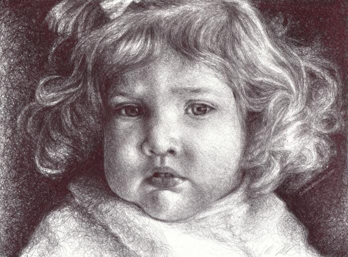 """My drawing, """"Little Sister"""" at Van Der Plas Gallery"""