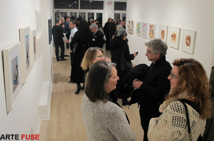 Opening night for Paper Trails at Van Der Plas Gallery