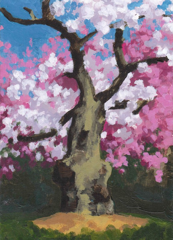"Sakura, 2011, Acrylic on panel 7""x5"" Private Collection"