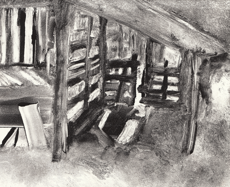 "Interior, 2017,  Monotype on paper,  9""x11"""
