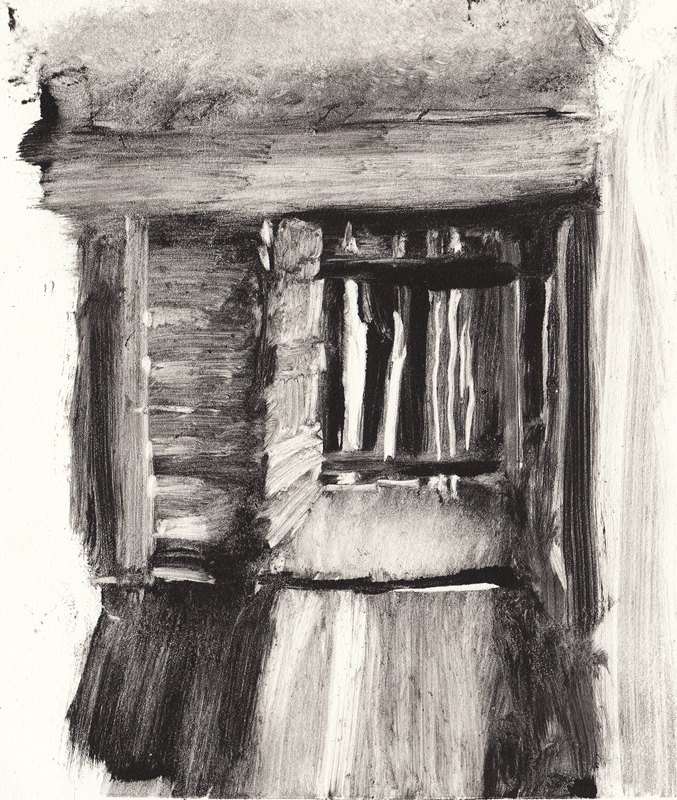 "Doorway, 2017,  Monotype on paper,  6""x8"""