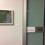 Miriam Carothers work in front of Brian Greene's office