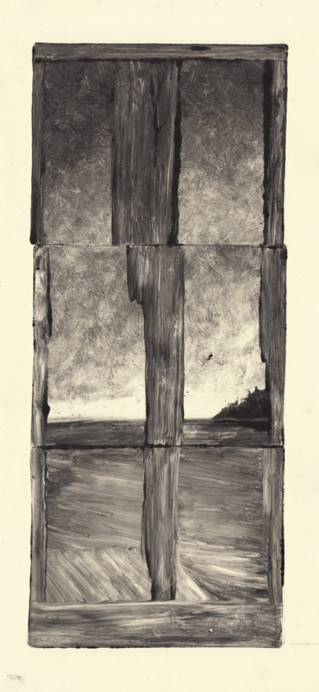 "Split, 2017, Monotype on paper, 24""x10"""