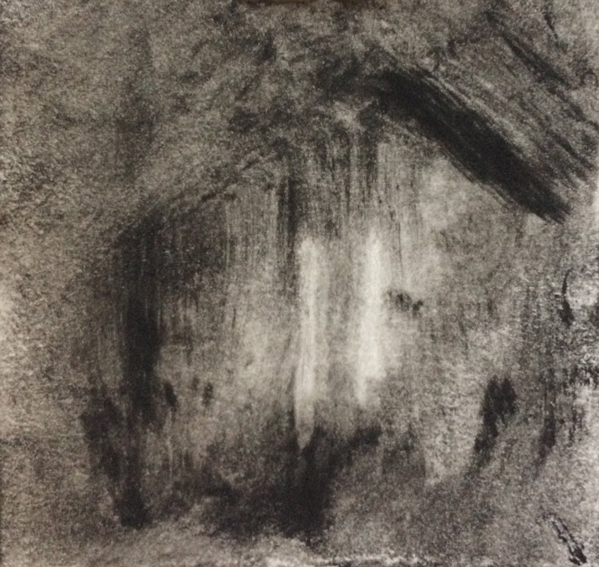 "Tiny Barn Impression, 2017, monotype on paper, 3.5"" x 4"""