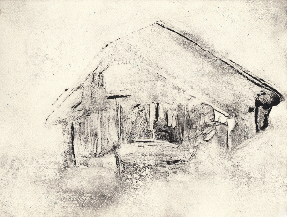 "White Out, 2017,  Monotype on paper,  9""x11"""