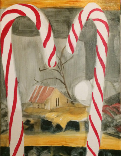 "Candy Canes, 2017, Acrylic on linen 9""x12"""