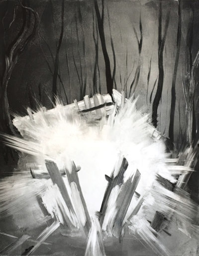 "Burst, 2018, Monotype on paper, 20""x16"""