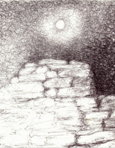 Stones in Moonlight, 2019, ballpoint on paper, 4 x 6 inches