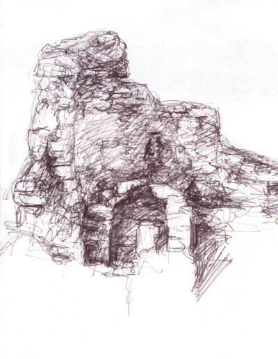 Castle Study, 2019, ballpoint on paper, 9 x 6 inches