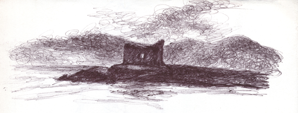 Castle Isle Study, 2019, ballpoint on paper, 9 x 6 inches