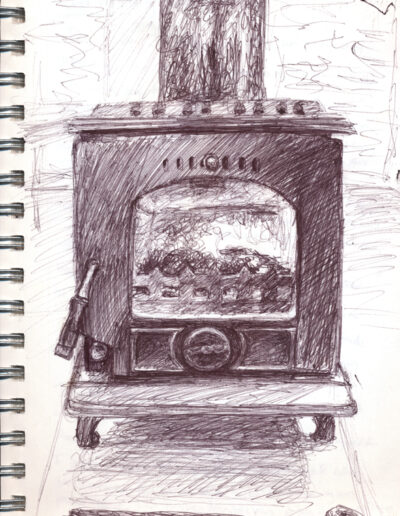 Stove Study, 2019, ballpoint on paper, 9 x 6 inches