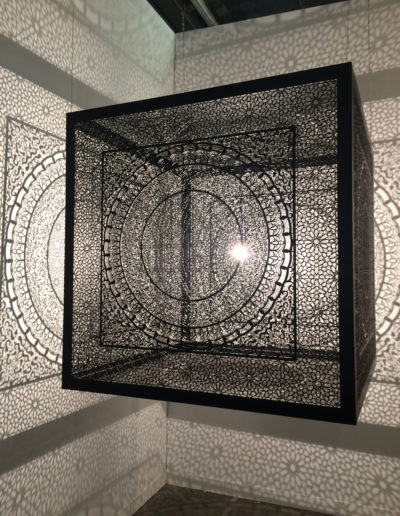 Anila Quayyum Agha, Shimmering Mirage (Ed. Of 6), 2016 Laser-cut black steel and bulb, Aicon Gallery, New York, NY