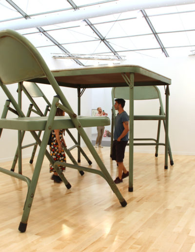 Robert Therrien, No title (folding table and chairs, green), 2008, Paint, metal, and fabric, Gagosian, New York