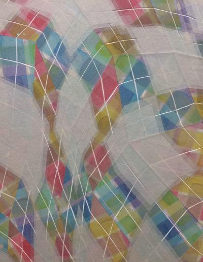 Takuji Hamanaka, Rites of Spring, 2015, Japanese color woodcut and gampi paper collage, Owen James Gallery, Brooklyn, NY