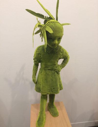 Kim Simonsson, Mossgirl, 2017, Ceramic, feather, nylon fibers, Galerie Forsblom, Helsinki, Finland