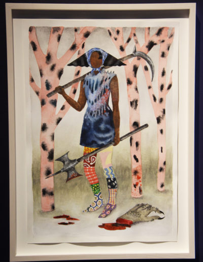 Keri Oldham, Warrior with Severed Claw, watercolor on paper, 19 x 14 inches, in The First Ages, curated by Chad Stayrook and Julia Oldham
