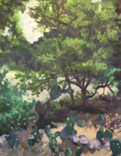 In the Greenbelt Shade, 2020, Acrylic on canvas, 24x36 inches