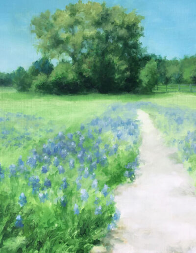 Bluebonnets, 2020, Acrylic on panel, 12 x 16 inches